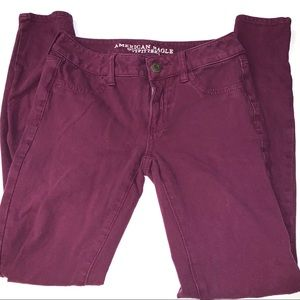 American Eagle Burgundy Super Stretch Jegging SZ 4